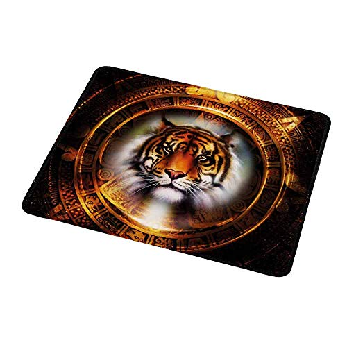 (Gaming Mouse Pad Customized Tiger,Ancient Mayan Calender Design with Big Hunter Cat Head Wise Feline Old Cultures,Pale Brown Gold,Custom Design Gaming Mouse Pad)