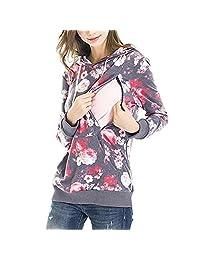 AmyDong - Blusa de Maternidad de Manga Larga con Bolsillo Suelto para Mujer, suéter para Lactancia