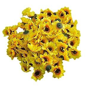 "50 pcs Artificial Silk Sunflowers Heads 2.8"",for Mother's Day,Home Wedding Bride Holding Flowers, Garden Craft Art Decor 111"