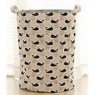 Fashionable Cotton Fabric Folding Laundry Hamper Storage Basket Dirty Clothes Hamper Basket (Whales)