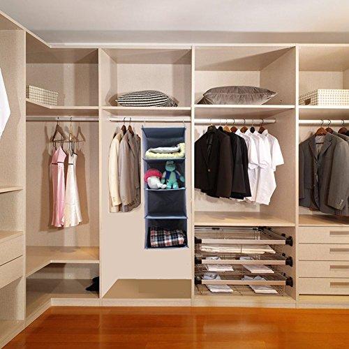 BabyCola 4-Shelf Hanging Closet Organizer, Hanging Clothes Storage Box,Collapsible Closet Hanging Shelf,Sweater & Handbag Organizer, Shoes Accessories Storage,Easy Mount(gray) by BabyCola (Image #5)