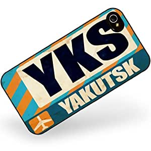 Rubber Case for iphone 4 4s Airportcode YKS Yakutsk - Neonblond