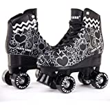 Cal 7 Roller Skates for Indoor & Outdoor Skating, Faux Leather Boot with Quad Design, Ankle Support Frame, Adults & Kids