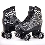 Cal 7 Roller Skates for Indoor & Outdoor Skating, Faux Leather Boot with Quad Design, Ankle Support Frame, Adults & Kids (Graphic Black, Men's 8 / Women's 9)