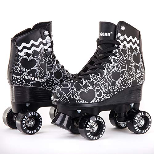 Cal 7 Roller Skates for Indoor & Outdoor Skating, Faux Leather Boot with Quad Design, Ankle Support Frame, Adults & Kids (Graphic Black, Men's 8 / Women's 9) ()