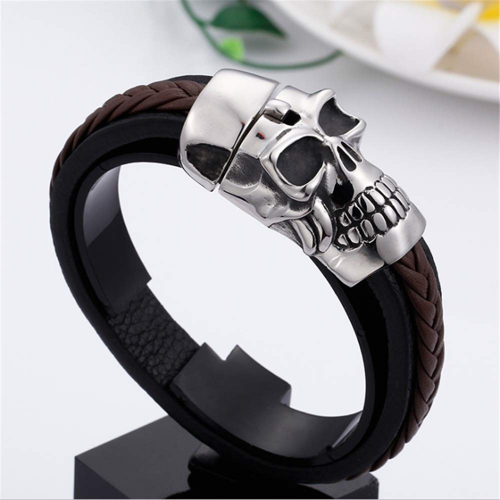 Zhao Xiemao Retro Punk Style Skull Heads High Class Leather Mens Bracelet Cuff Bangle Stainless Steel Wristband for Kids Boys Teens Silver Brown Black Packed Gift Box Bracelets Men Women