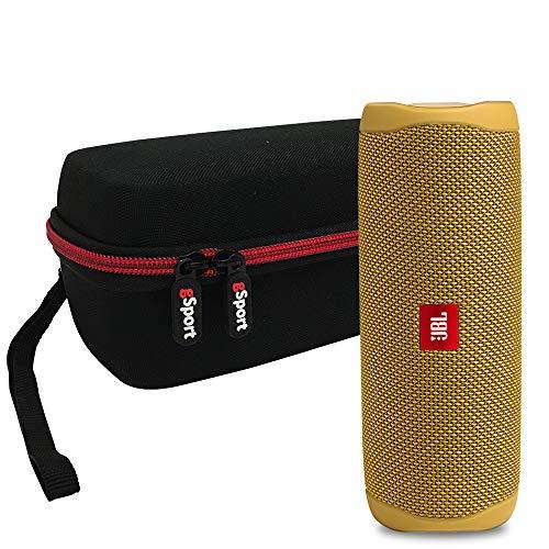 JBL FLIP 5 Portable Speaker IPX7 Waterproof On-The-Go Bundle with gSport Deluxe Hardshell Case (Yellow)