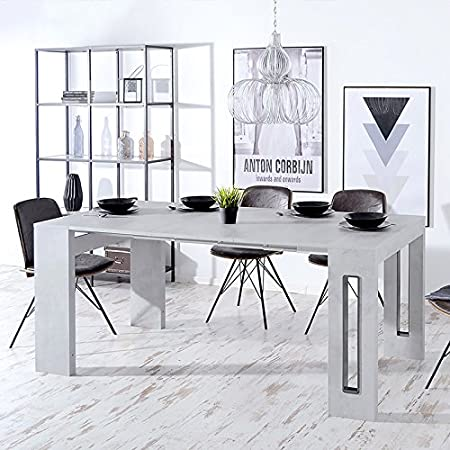 ROMA Italian Made Extending Dining Table Computer Desk Console In Beautiful Cemento