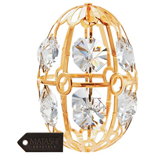 24K Gold Plated Crystal Studded Easter Egg Ornament by Matashi
