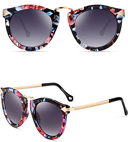 ATTCL Vintage Fashion Round Arrow Style Polarized Sunglasses for Women 11189 Floral (Maximum Uv Protection Sunglasses)