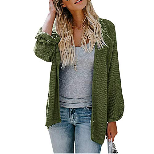Syban Women's Loose Fit Long Sleeve Knitted Cardigan Coat Tops (X-Large,Xy-ArmyGreen)