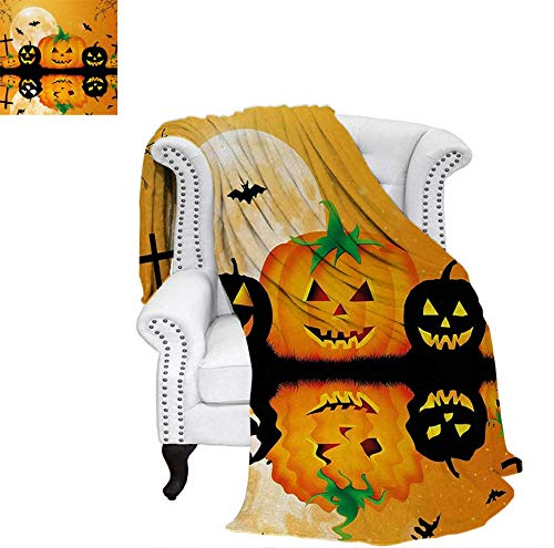 Custom Design Cozy Flannel Blanket Spooky Carved Halloween Jack o Lantern and Full Moon with Bats and Grave Lake Weave Pattern Blanket 70