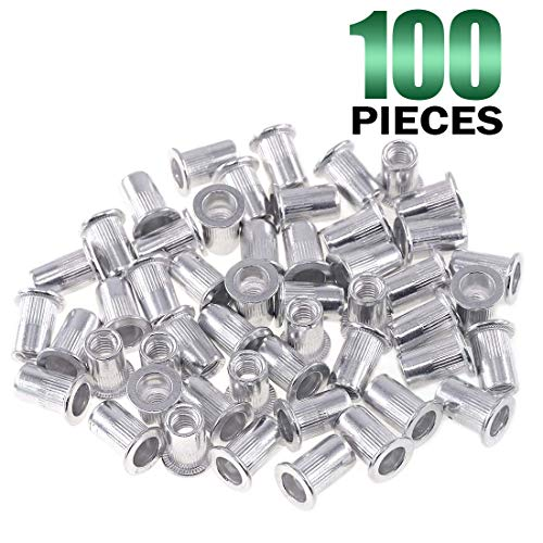 Keadic 100Pcs M6 Metric Rivet Nuts, Aluminum Flat Head Threaded Insert Nutserts for Automotive, Furniture, Decoration