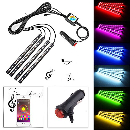 HOTSYSTEM 4x LED 5050 RGB Interior Light Neon Strip Lamp Kit Music Wireless Phone Control