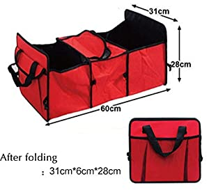 MQYH@ Car Boot Organizer,Collapsible Car Storage Box Tidy Waterproof Storage Boot Organiser Box with 2 Large Compartments And Convenience Side Pockets for Car, Suv, Truck, Minivan Red