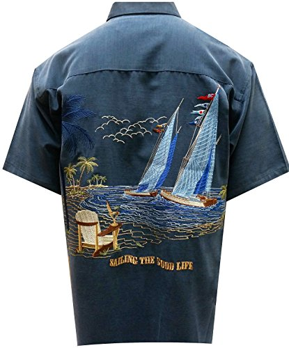 Silk Button Front Navy (Bamboo Cay Men's Sailing the Good Life, Button Front Embroidered Camp Shirt (Medium, Navy))