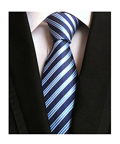 Tie Tonal Silk Blue (Men's Navy Blue Light Blue White Jacquard Woven Silk Ties Job Interviews Necktie)