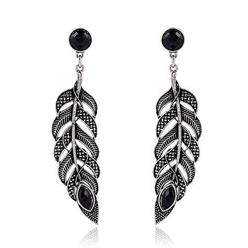 Leaf Drop Fashion Earring (JOYA GIFT Bohemia Fashion Vintage Drop Earrings Black Leaf Shape Dangle Earrings for women)