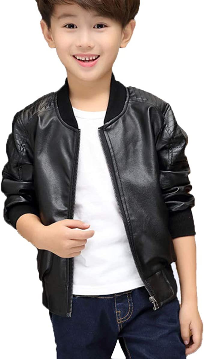 ZPW 2018 Boys Girls Spring//Autumn//Winter Motorcycle Faux Leather Jackets 2 Version Available