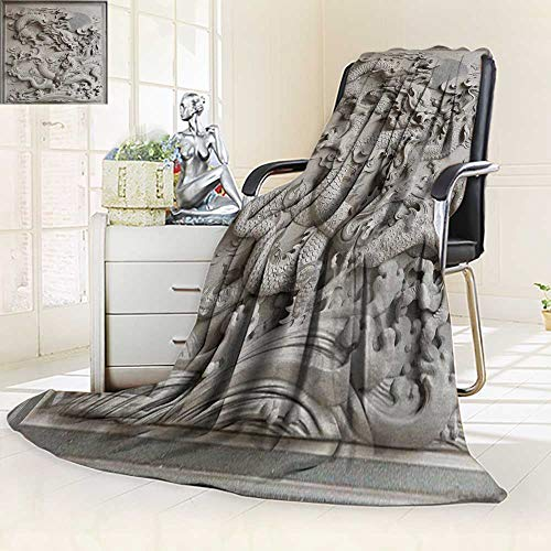 (YOYI-HOME Fashion Designs Warm Duplex Printed Blanket Chinese Dragon Granite Stone Carving on Temple Outside Sofa,Air-Conditioner Room/59 W by 39.5
