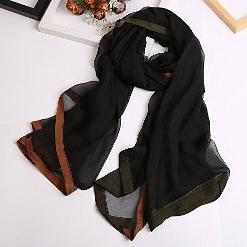SED Scarf-Ms. Spring and Autumn Silk Scarf Solid Color Wild Snow Woven Silk Scarf Scarf Shawl Dual-Use Imitation Cashmere Scarf Female Autumn and Winter Korean Students Knitted Shawl Long,Black