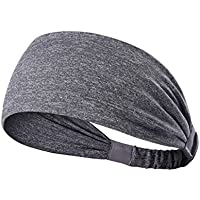 Skudgear Yoga Sport Athletic Headband Sweatband for Running Sports Travel Fitness Elastic Wicking Non Slip Style Band and Basketball Headbands Headscarf fits (Cement)