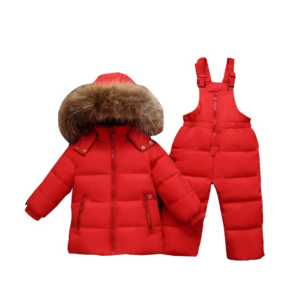 MissChild Two Piece Hooded Snowsuit Little Kids Girls Boys Puffer Down Jacket Snow Ski Bib Pants Outfits Outwear