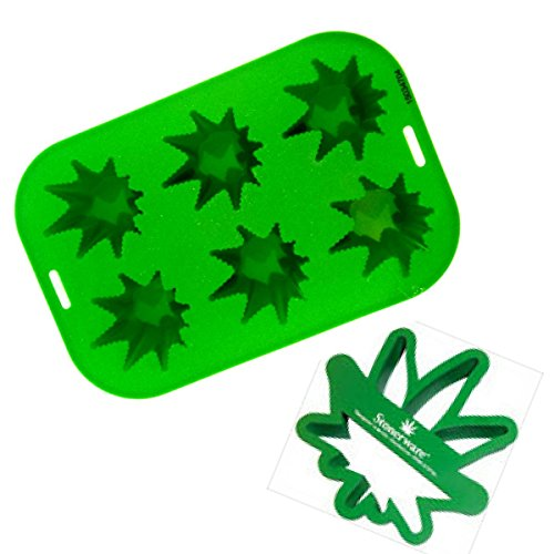 Stonerware Pot Weed Marijuana Leaf Cookie Cutter & Pot Leaf Cake Pan Bundle (2 Items) (Weed Shaped Cake Pan)