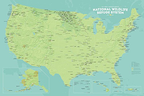 US National Wildlife Refuge System Map 24x36 Poster (Green & (Kingman Blue Green)