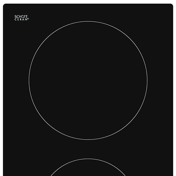 Anself - Placa De Vidrio Schott Y Cerámica, Táctil Sensor (3000 W , 60cm , 2-Zonas De Cocción)