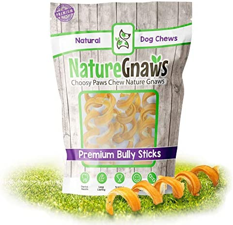 Nature Gnaws Bully Stick Springs – Premium Natural Free-Range Beef Dog Chew Treats – Rawhide Alternative Dog Bones – Simple Single Ingredient Chews for Dogs