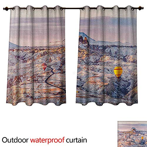 Winter 0utdoor Curtains for Patio Waterproof Cappadocia Turkey Landscape with Hot Air Balloons Anatolia Valley Geology Tourism W55 x L45(140cm x 115cm) ()