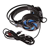 Dovewill Surround Gaming Headset Headband Headphone USB 3.5mm with Microphone Light for Computer Black