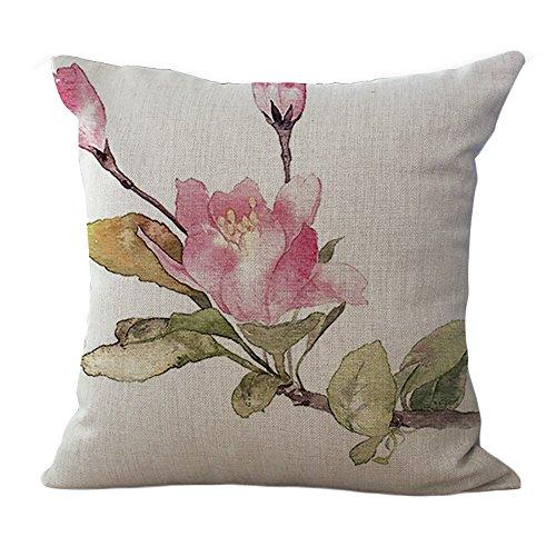ChezMax Cotton Linen Cushion Cover Pink Floral Pattern Square Decor Pillow Sham Decorative Throw Pillow Case 18