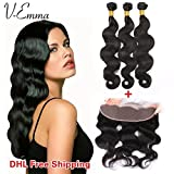 V-Emma Virgin Brazilian Hair 13x4 Lace Frontal Side Part Closure with 3 Bundles Hair Weave Body Wave Remy Human Hair Natural Color (22