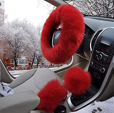 3 Pcs Plush Steering Wheel Covers Kit Mioke 100/% Wool Winter Warm Fluffy Wheel Cover Burgundy No smell Non-Slip Anti-Shedding with Handbrake /& Gear Shift Cover Universal Size 37-39cm