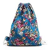 Creazrise Women Backpack,Womens Drawstring Canvas Backpack Floral Print Shoulder Bag (Sky Blue) Review