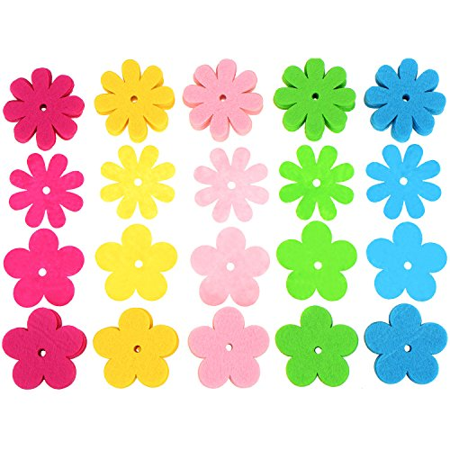 WILLBOND 2 Styles Felt Flowers for Art and Craft, Assorted Color, 200 Pieces