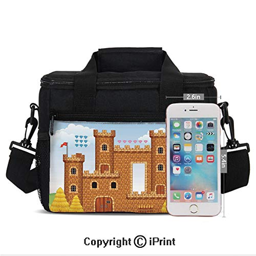 Insulated Lunch Box Video Game Background with Castle Leisure Hobby Activity Kids Youth Design Print Portable Lunch Bag Reusable Carry Boxes Cooler Tote Bag for School Work Office Picnic Gym,Light Ca