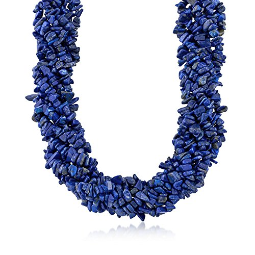 Ross-Simons Lapis Torsade Necklace in Sterling Silver