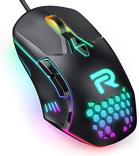 RUNMUS CW902 Wired USB Gaming Mouse with RGB, 7 Programmable Buttons, Ergonomic USB Computer Mouse with High Precision Sensor, DPI/LED Lighting for PC/Laptop