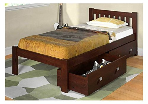 Donco Kids Twin Mission Bed with Dual Underbed Drawers in Dark Cappuccino