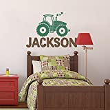 "BATTOO Personalized Name Wall Decal, Custom Name Tractor Wall Sticker Vinyl Decal 40""W 28""H for Girls Boys Room Childrens Farm Wall Decor PLUS free hello door decal, dark brown dark green"
