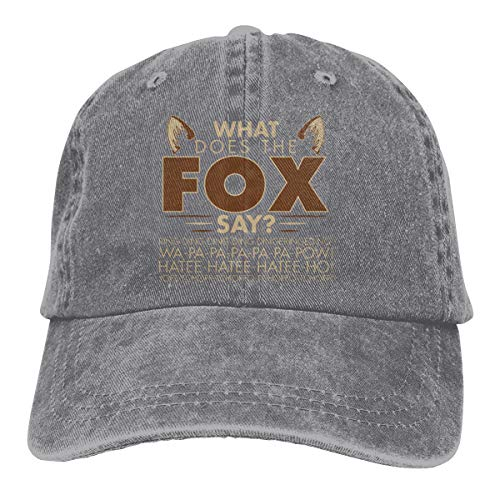 Victor Valentine W-hat Does-The Fox-Say Cotton Washed Denim Visor Caps Adjustable Hat for Men and Women