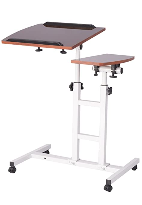 Shakalaka Adjustable Height Laptop Desk With Rolling Cart Mobile Laptop Desk  Cart Black