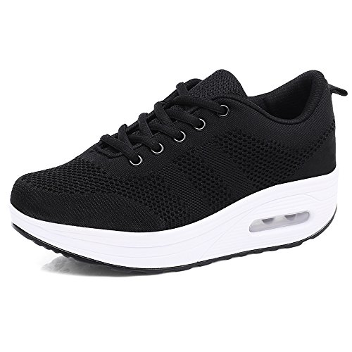 Women Comfort Walking Shoes Casual Tennis Lightweight Sneakers Wedges Air Cushion Slip On Fitness Shoes (9.5 B(M) US, Black)