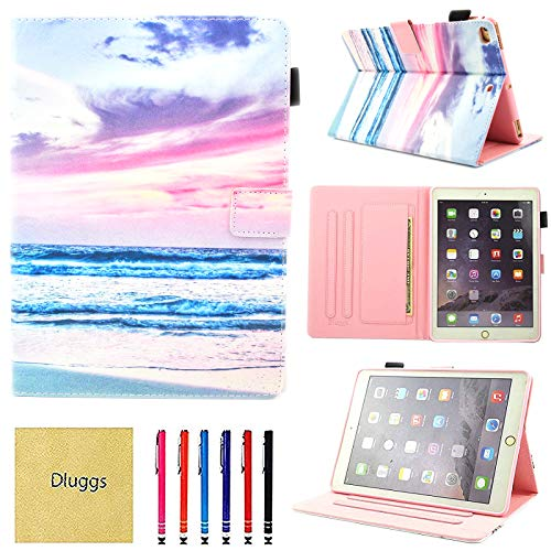 iPad Air 2 Case, iPad Air Case, iPad 9.7 2017/2018 Case, Dluggs PU Leather Folio Smart Cover with Auto Sleep/Wake Function for Apple 9.7 Inch Tablet iPad 6th / 5th Gen, iPad Air 1/2, Brine