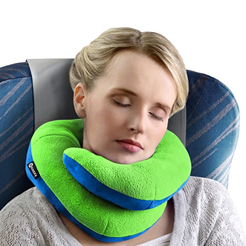 Green Neck Pillow (BCOZZY Chin Supporting Travel Pillow – Complete 360° Support for Head, Neck, and Chin –Achieve Maximum Comfort in Any Sitting Position with Patented Neck Pillow – Adult Size, Apple-Green)