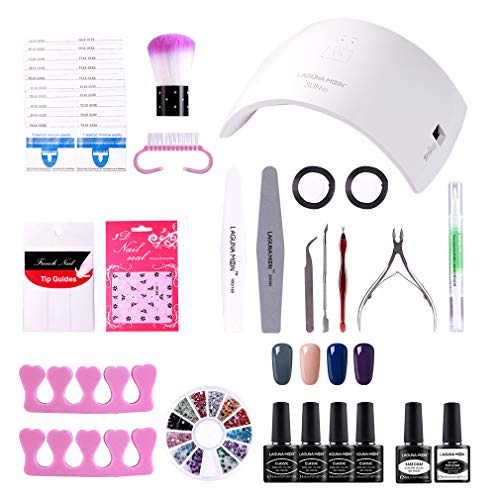Lagunamoon Gel Nail Polish Start Kit with 24W Nail Lamp Gel Base and Top Coat Gel Polish Soak off UV LED 4pcs Elegent Gel Nail Colors Manicure Varnish Set