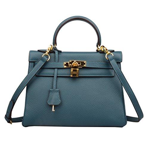 Ainifeel Women's Padlock Shoulder Handbags Hobo Bag (32cm, Peacock blue) by Ainifeel